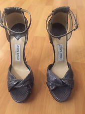 100% Authentic! JIMMY CHOO  Gray Heel Open toe Size 38 1/2!!! SHARWEI
