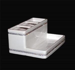 Bella Lux LARGE White Ceramic Rhinestones Bathroom Caddy Make-Up Jewelry Etc NEW
