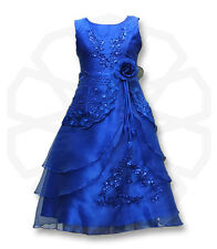 Flower Girls Formal Layered Wedding Dresses Bridesmaid Party Dress Age 4 to 15 Y Royal Blue 13-14 Years