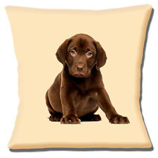 "NEW CUTE CHUBBY CHOCOLATE LABRADOR PUPPY DOG ON CREAM  16"" Pillow Cushion Cover"