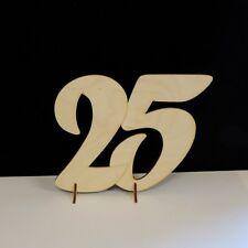 Silberne Hochzeit Holzzahl 25 Geschenk 15cm, Geburtstag Jubiläum Aufsteller