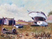 PAM WHITFIELD - BOATS IN THE YARD  - OIL PAINTING - 1989 - NO RESERVE !!!