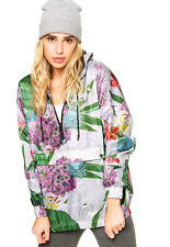 Adidas Originals Floral Print Arts Graphic Windbreaker Hoodie White Jacket TOP