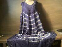 Womens Dress 100% Rayon METROPOLITAN BLUE  EMBROIDERED BOHO NWT SIZE 1X 2X 3X