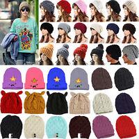 Unisex Women Men Crochet Beret Winter Beanie Slouch Skull Cap Knit Baggy Ski Hat