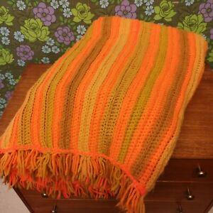 Vintage Stripy Bright Orange & Green Knitted Crochet Wool Blanket/Throw - bobbly