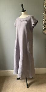 "SAHARA Gorgeous grey Linen button back long loose layering dress in sz M ch 48"""