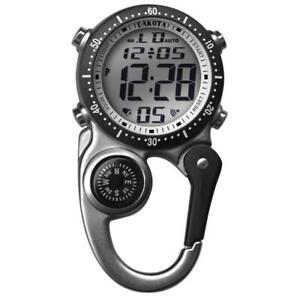 Digiclip Digital Watch Light-Up Silver Compass Carabiner Clip Dakota30872