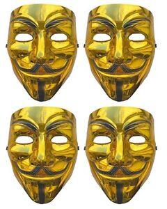 4 X Gold Anonymous Hacker V For Vendetta Gesichtsmaske Kostüm Halloween 0049