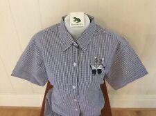 Ladies Grenouille Seersucker Cotton Short Sleeve Shirt, Xxl, navy butterfly