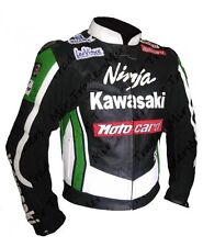 MEN GREEN MOTOCARD NINJA KAWASAKI MOTOGP MOTORBIKE MOTORCYCLE LEATHER JACKET