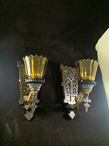 Pair 1930s Spanish Revival Cast Iron Gothic wall Sconces