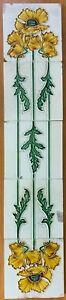 Rare Hemiksem Gilliot Belgium Set of 5 Tiles Rare Vintage Antique Art Nouveau