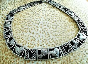 ***CHICO'S HEART BELT silver hearts stretch band One Size!!