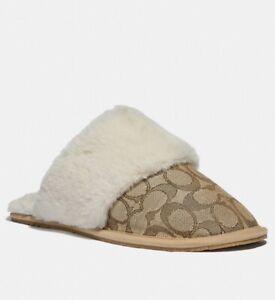 COACH Ziva Slippers SIGNATURE JACQUARD PRINT Size 7 M KHAKI FUR Zuri MSRP $100