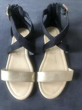 Fabulous Footwear By George Black Gold Strappy Flat Sandals Size 3