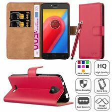 Motorola Moto C Case Magnetic Wallet Flip Leather Cover Card Holder Stand Luxury