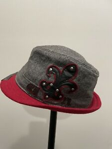 Cremieux Gray Denim Fedora Small Medium Gray Embroidered Mens Hat Cap
