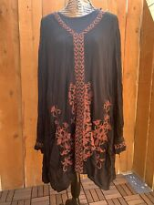 """Free People -NWT Black/Red """"Hearts in Heaven"""" Mini Dress Tunic - Size Large"""