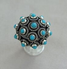 Sterling Silver & Turquoise Dome Style Ring Size 7 Made in Mexico;K973