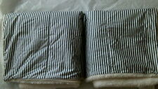 Pottery Barn Wheaton Stripe Sherpa Quilted Euro Sham Navy S/2 New