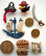 PIRATES Craft Themed Buttons Boys Toys Ship Treasure Chest Gold Sea Map Fantasy