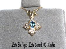 ".25 ctw Blue Topaz .10 ctw Diamond Necklace 10K yellow gold 18"""