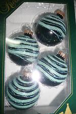 Christbaumkugeln Weihnachtskugeln Christbaumschmuck Glas Lauscha türkis schwarz