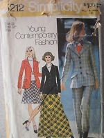 VINTAGE Simplicity Sewing Pattern 5212 Misses Blazer Bias-Skirt Pants 8-10 OOP