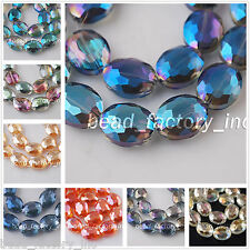 10Pcs Colorful 20mm Faceted Crystal Glass Oval Spacer Beads Jewelry Findings