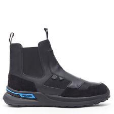 new PRADA AW18 runway black leather suede sneaker sole hybrid chelsea boot EU42