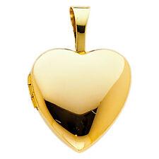 Real 14K Yellow Gold Plain Love Heart Locket Hold Photo Small Charm Pendant