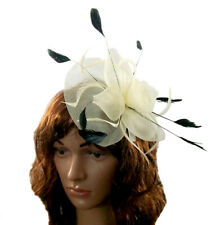 Fascinator Clip in cream and black  feathers for weddings , ladies day