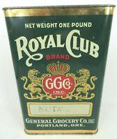 ROYAL CLUB BRAND GG Co PORTLAND OREGON 1 Pound NUTMEG spice tin General Grocery