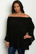 WOMEN'S PLUS SIZE FLIRTY BLACK BOHO TOP WITH LONG BELL SLEEVES 3X NEW