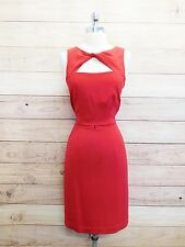 Donna Ricco Lipstick Red Valentines Peek A Boo Sheath Cocktail Dress Sz 8 L14-49