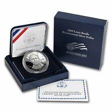 2009 P Louis Braille Bicentennial Silver Dollar