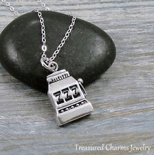 925 Sterling Silver Slot Machine Charm Necklace - Casino Las Vegas Pendant NEW
