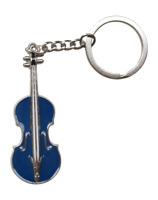 Bijoux de Sac, Porte-clés Violon Bleu et argenté, Acier.