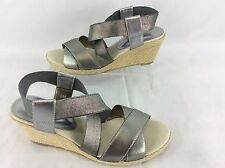 David Tate Easy Shoes-Women's 6.0 M Pewter-Elastic Straps-Rope Wedge AL 195