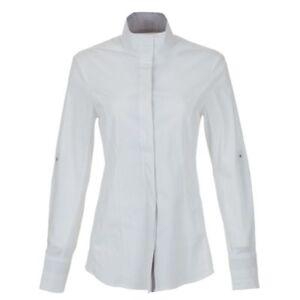 Pessoa English Horse White Long Sleeve Womens Large Hunt + Dressage Show Shirt