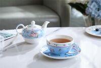 Vintage Rose Flower  Porcelain Tea for One Teapot and Cup saucer Blue Pink