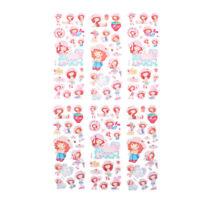 6 Sheets Cute Strawberry Girls Scrapbooking Bubble Stickers Reward Kids Toys Dz