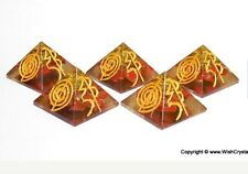 Reiki Energy Charged Engraved Red Jasper Orgone Pyramid Powerful Energy Genrator