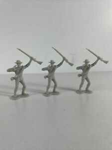 3 Louis Marx civil war toy soldier gray south confederate vtg figure cowboy hat