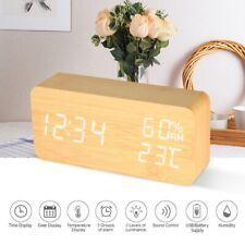 Cute LED Wooden Alarm Clock Sound Control Digital Clock