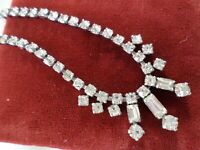 Diamante rhinestone necklace multifaceted silver tone metal Vintage