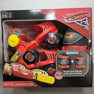Disney Pixar Cars Junior Kids Adjustable Skates Combo Set Knee & Elbow Pads 6-12