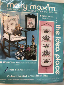 """Mary Maxim Violets Bell Pull Cross Stitch Kit #79166 Floral 24x6"""" NEW Vintage"""