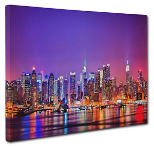 New York Cityscape Majestic Canvas Picture Print Wall Art Size A1 51x76cm